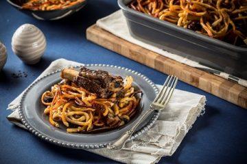 חמין ספגטי עם אסאדו, ערמונים וטימין
