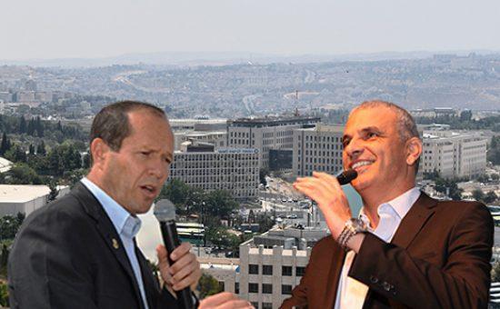ניר ברקת ומשה כחלון על רקע ירושלים מהאוויר