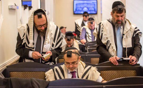 בתפילת שחרית בבית הכנסת בית רחל עם תושבים מקומיים. צילום: אלי איטקין