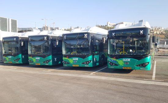 האוטובוסים החשמליים החדשים בירושלים - צילום המשרד להגנת הסביבה