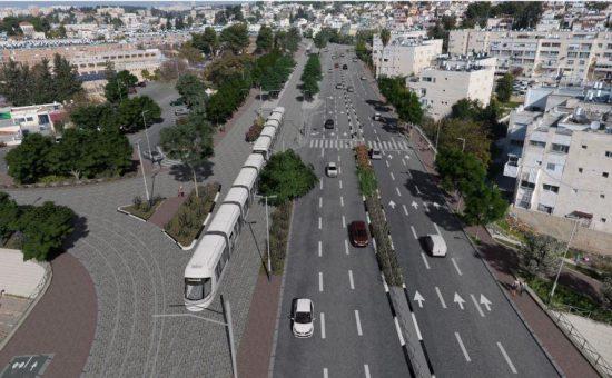 הדמיה רכבת קלה, קרדיט תכנית אב לתחבורה ירושלים