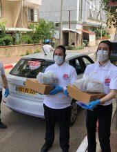 עשרות מתנדבות חילקו מזון לתושבים בבידוד