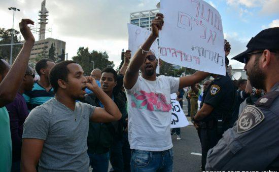 הפגנת האתיופים בתל אביב צילום משטרת ישראל (2)