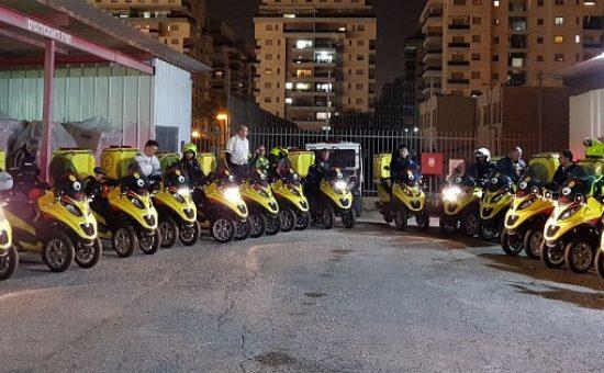 טקס חנוכת 15 אופנועי מדא חדשים בפתח תקווה - צילום תיעוד מבצעי מדא 10.1.18 (2)