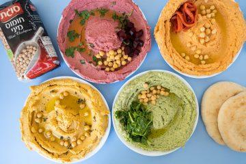 מיני חומוס: 4 ממרחי חומוס צבעוניים להכנה ביתית