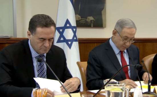 ישיבת הממשלה: ראש הממשלה בנימין נתניהו ושר התחבורה ישראל כץ