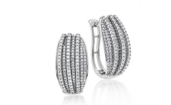 עגילי יהלומים, זהב K14 משובצים 1.00 קראט יהלומים | הבורסה לתכשיטים