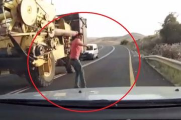 מפחיד: קפץ מול משאית נוסעת