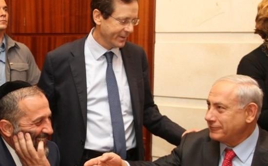 ראש הממשלה נתניהו והרצוג בשמחת שבע הברכות לבתו של השר דרעי