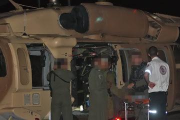 """דיווח ותיעוד ראשוני: מסוק צבאי פינה נפגע מהצפון לביה""""ח בחיפה. עידכון: מדובר בילד סורי"""