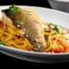 לכבוד שבת: פילה לברק על מצע ספגטי ברוטב לימוני