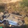 תיעוד וידיאו: רכב ובו ארבעה חרדים התהפך בכביש 6