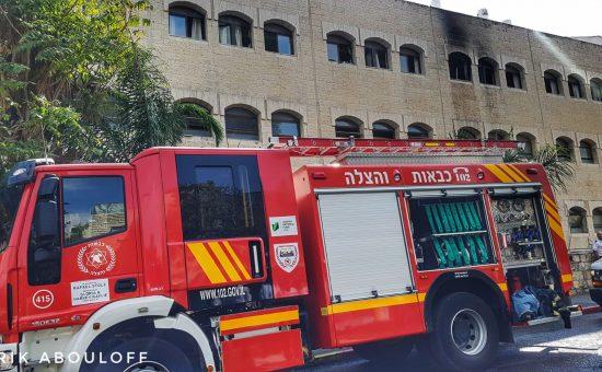 השריפה בישיבת זוויעהל, צילום: אריק אבולוף כבאות והצלה ירושלים