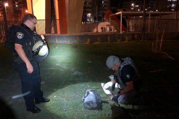 וידאו: חבלן המשטרה מטפל בשרידי רקטה