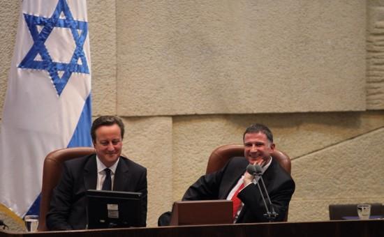 """יו""""ר הכנסת אדלשטיין עם ראש ממשלת בריטניה במשכן הכנסת"""