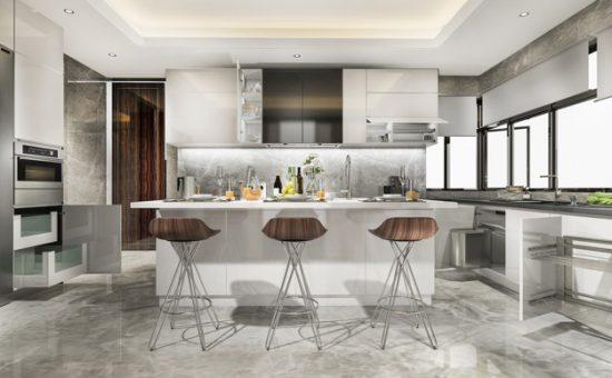 rendering beautiful modern kitchen with dining bar