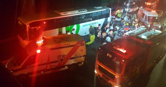 תאונת דרכים בגשר הולכי הרגל לגבעת שמואל