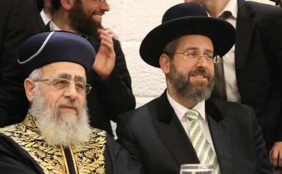 """הרבנים הראשיים הגר""""י יוסף והגר""""ד לאו. צילום: בעריש פילמר"""