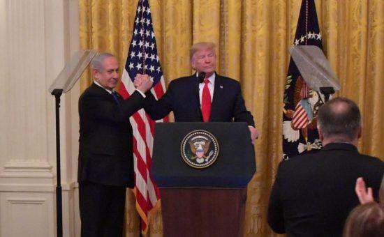 """הכרזת הממשל האמריקאי על תוכנית המאה בבית הלבן בוושינגטון. צילום - קובי גדעון / לע""""מ"""