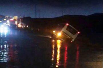 20 קילומטר מנחל צופית: אוטובוס נטה על צידו