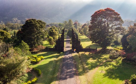aerial view ancient bali gate with pathway: freepik