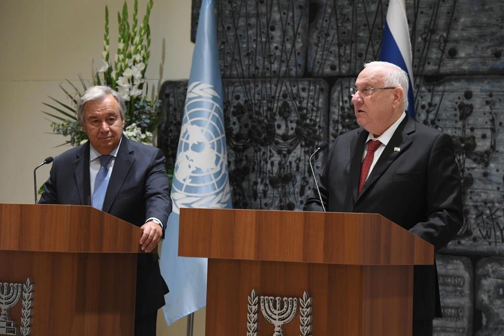 """נשיא המדינה קרא למזכ""""ל האו""""ם: לסיים את """"האפליה נגד ישראל בחלקים מהארגון״"""